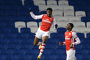 CHUBA AKPOM scores a goal during the Barclays U21 Premier League match between Brighton U21 and Arsenal U21 at the American Express Community Stadium, Brighton and Hove, England on 1 December 2014.