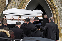"""© Licensed to London News Pictures. 13/02/2020. Sevenoaks, UK. The coffins arrive at St John the Baptist church in Sevenoaks, Kent for he funeral of traveller brothers Billy and Joe Smith. The twin brothers, who were made famous by the television programme """"My Big Fat Gypsy Wedding"""", were found hanged in woodland three days after Christmas. Photo credit: Ben Cawthra/LNP"""