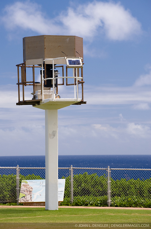 Pictured is the automatic beacon on Kilauea Point that replaced the nearby Kilauea Point Lighthouse. The beacon is used for local boaters and aircraft. The Kilauea Point beacon and lighthouse is part of the U.S. Fish and Wildlife Service Kilauea Point National Wildlife Refuge on the island of Kauai in Hawaii.