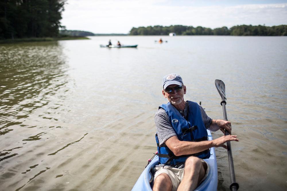 MACHIPONGO, VA - JUNE 22: Bob Schleh, of Virginia Beach, Va., departs Chatham Vineyards after a tour on Sunday, June 22nd, 2014 near Machipongo, Va. (Photo by Jay Westcott/For The Washington Post)