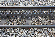 Detail of rack railway track and cog rack for Jungfraubahn funicular train
