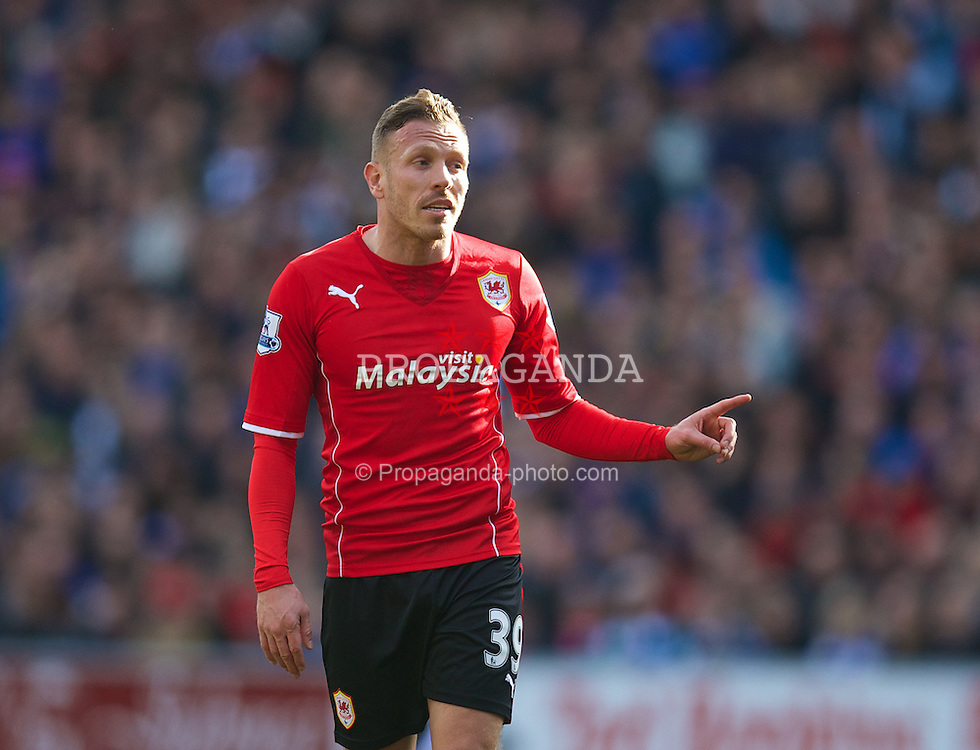CARDIFF, WALES - Saturday, March 22, 2014: Cardiff City's Craig Bellamy during the Premiership match against Liverpool at the Cardiff City Stadium. (Pic by David Rawcliffe/Propaganda)