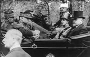 King Alphonso XIII of Spain on a state visit to France shown in a carriage with President Raymond Poincare circa 1910