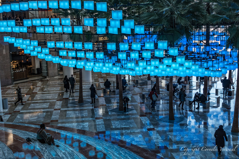 """The Luminaries"" an interactive light installation at Winter Garden in Battery Park City."