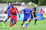 AFC Wimbledon Midfielder Lewis Mahoney (27) during the Pre-Season Friendly match between AFC Wimbledon and Watford at the Cherry Red Records Stadium, Kingston, England on 15 July 2017. Photo by Jon Bromley.