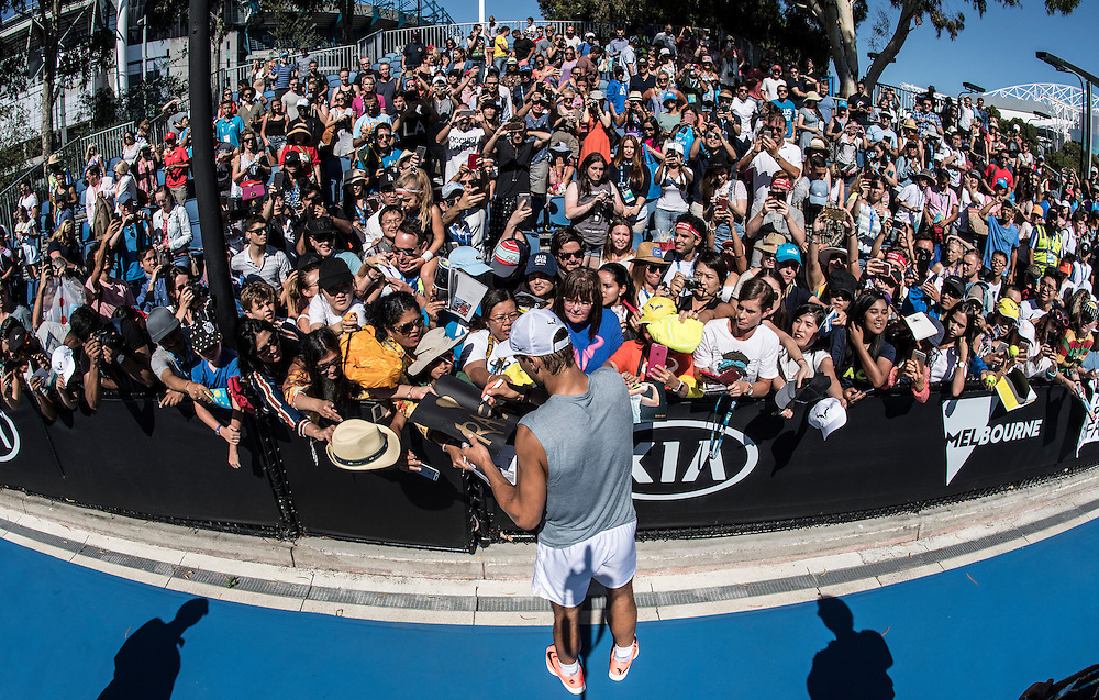Rafael Nadal of Spain practices ahead of the men's final on day fourteen of the 2017 Australian Open at Melbourne Park on January 29, 2017 in Melbourne, Australia.<br /> (Ben Solomon/Tennis Australia)