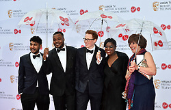 Tamal Ray, Selasi G'bormittah, Andrew Smyth, Benjamina Ebuehi and Jane Beedle arriving for the Virgin TV British Academy Television Awards 2017 held at Festival Hall at Southbank Centre, London. PRESS ASSOCIATION Photo. Picture date: Sunday May 14, 2017. See PA story SHOWBIZ Bafta. Photo credit should read: Matt Crossick/PA Wire