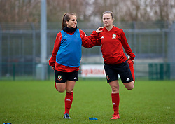 CARDIFF, WALES - Sunday, January 20, 2019: Wales' Megan Wynne (L) and Anna Filbey during a training session at Dragon Park ahead of the International Friendly game against Italy. (Pic by David Rawcliffe/Propaganda)