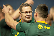 South Africa head coach, Rassie Erasmus is all smiles after the Autumn Test match between Scotland and South Africa at the BT Murrayfield Stadium, Edinburgh, Scotland on 17 November 2018.