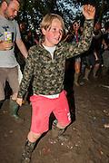 Dancing and drinking in the glade - The 2016 Glastonbury Festival, Worthy Farm, Glastonbury.