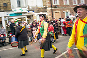 UNITED KINGDOM, Whittlesey: Straw Bear Festival. Morris dancers perform during the Straw Bear festival this weekend. The three day festival, which originated in 1882, consists of traditional Molly, Morris, Clog and Sword dancing as well as parading a large straw character known as 'The Bear' through the town. Rick Findler  / Story Picture Agency