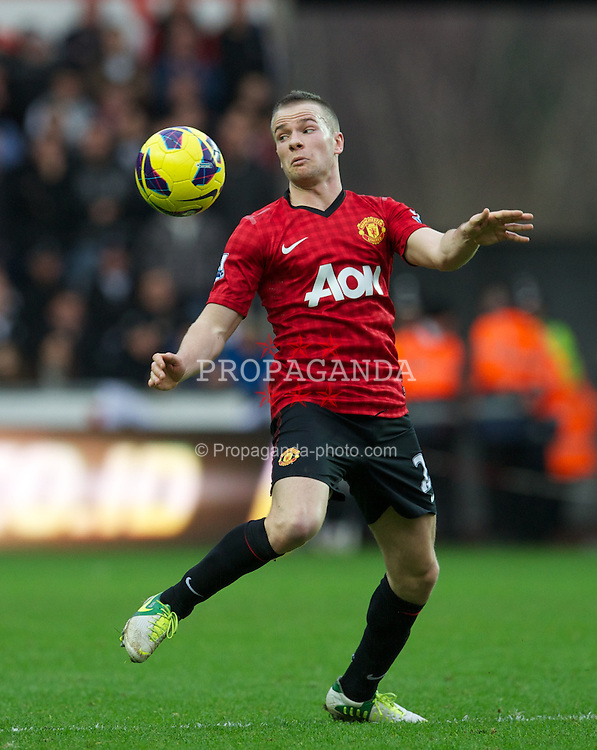 SWANSEA, WALES - Sunday, December 23, 2012: Manchester United's Tom Cleverley in action against Swansea City during the Premiership match at the Liberty Stadium. (Pic by David Rawcliffe/Propaganda)