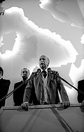 Roma 1987.Giorgio Almirante  segretario del MSI ad un comizio durante la campagna elettorale.Giorgio Almirante, secretary of MSI neo-fascist party  speaks to a meeting during the electoral campaign