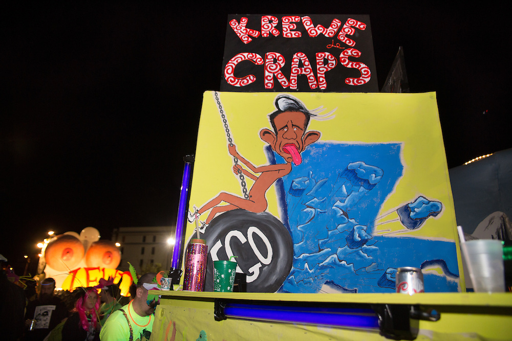 "Feb 15,  New Orleans, LA, a caricature of  Bobby Jindal superimposed on a cartoon of Miley Cyrus at the helm of a float in the Krewe du Vieux Mardi Gras parade that roles through New Orleans Marigny and French Quarter.<br /> The 2014  theme was ""Where the Vile Things Are,"".  Krewe du Vieux is know for it  raucous irreverent satire displayed on the floats and by the Krewe members."