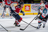 KELOWNA, CANADA -FEBRUARY 19: Matthew Gelinas #4 of the Tri City Americans, the son of retired NHLer and Calgary Flames' assistant coach, Marty Gelinas, skates against the Kelowna Rockets on February 19, 2014 at Prospera Place in Kelowna, British Columbia, Canada.   (Photo by Marissa Baecker/Getty Images)  *** Local Caption *** Matthew Gelinas;