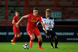 STEVENAGE, ENGLAND - Monday, September 19, 2016: Liverpool's Adam Phillips in action against Tottenham Hotspur during the FA Premier League 2 Under-23 match at Broadhall. (Pic by David Rawcliffe/Propaganda)
