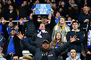 "Birmingham City fan holds up a placard ""Our City is Blue"" during the EFL Sky Bet Championship match between Birmingham City and Aston Villa at St Andrews, Birmingham, England on 29 October 2017. Photo by Dennis Goodwin."