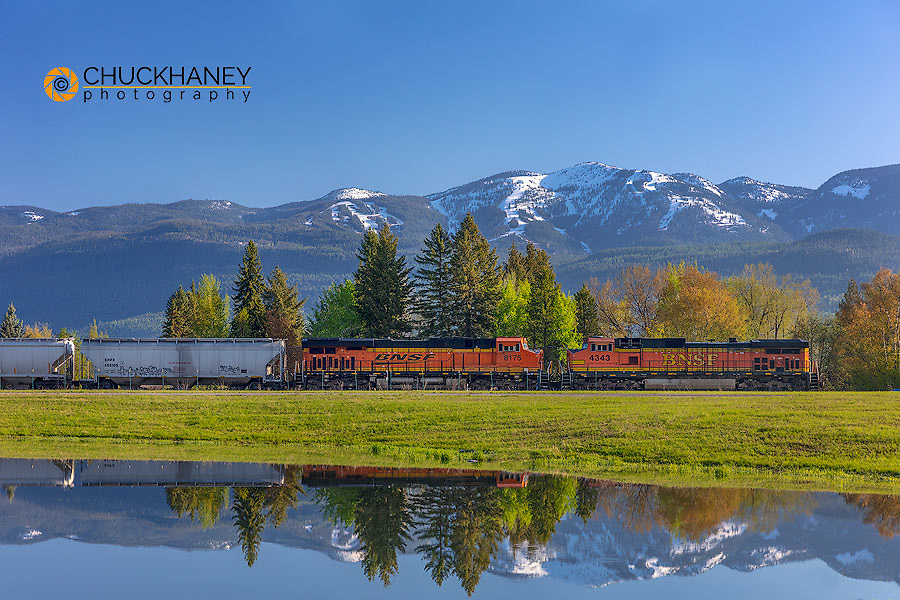 Burlington Northern freight train coming into Whitefish, Montana, USA