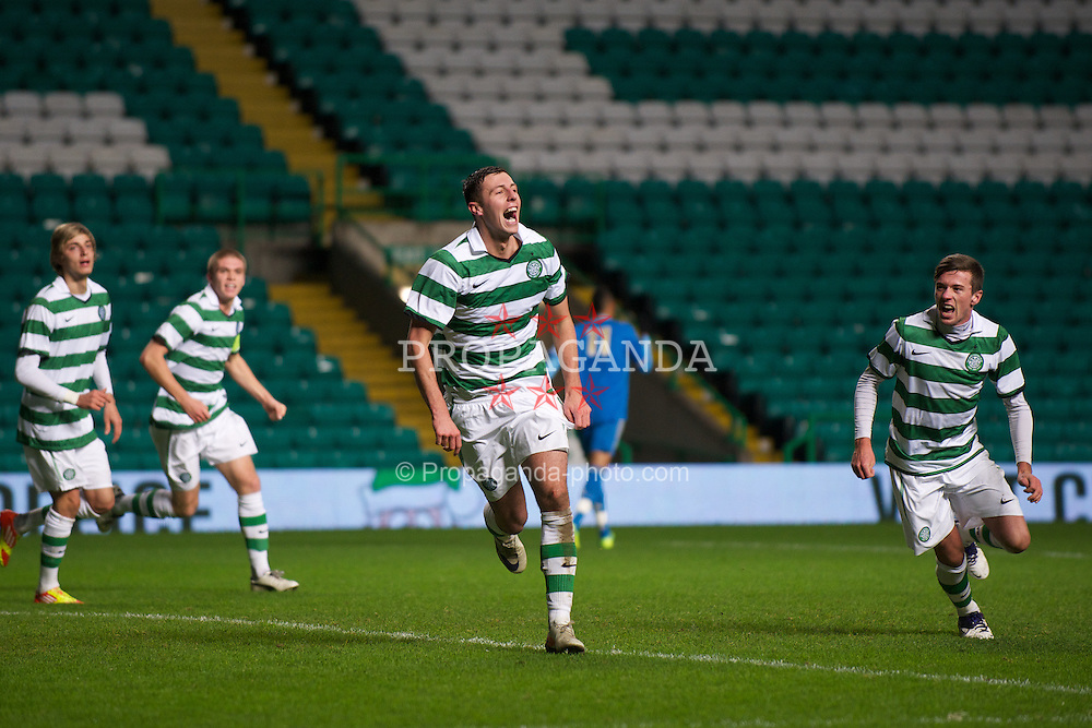GLASGOW, SCOTLAND - Wednesday, December 7, 2011: Glasgow Celtic's Lewis Toshney celebrates scoring the second goal against Olympique de Marseille during the NextGen Series Group 1 match at Celtic Park. (Pic by David Rawcliffe/Propaganda)