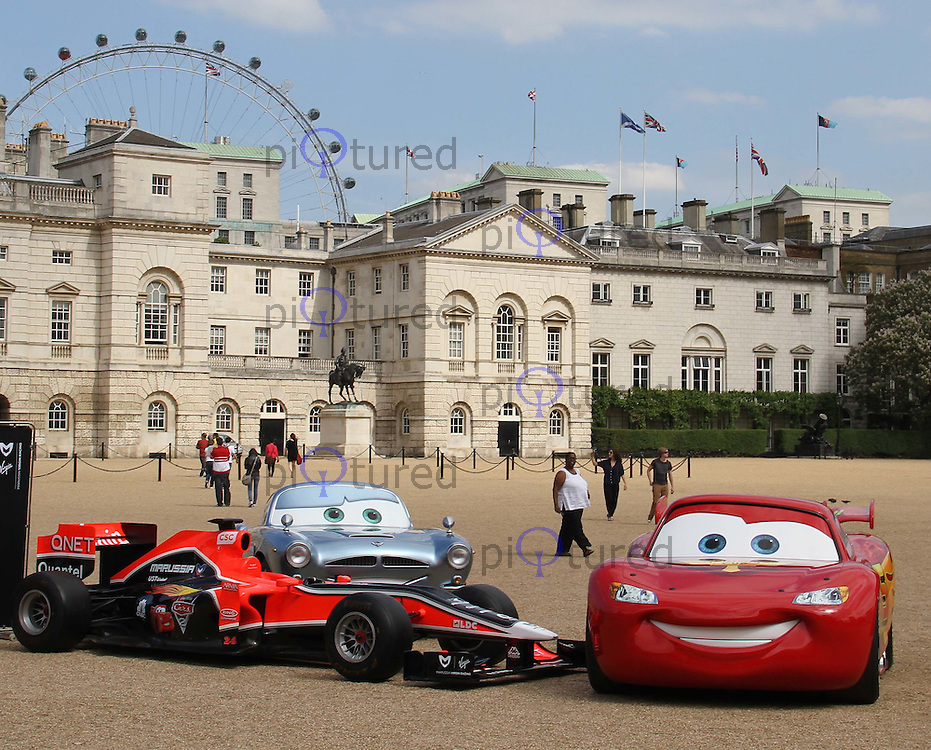 Lightning McQueen; Finn McMissile; Marussia Virgin Racing F1 Virgin Racing - Cars 2 Launch photocall, Horse Guards Parade, London, UK, 04 July 2011:  Contact: Rich@Piqtured.com +44(0)7941 079620 (Picture by Richard Goldschmidt)