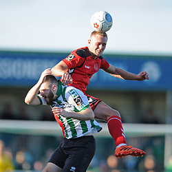 TELFORD COPYRIGHT MIKE SHERIDAN 29/9/2018 - Jon Royle of AFC Telford wins a header during the Conference North fixture between Blyth Spartans and AFC Telford United at Croft Park, Blyth.