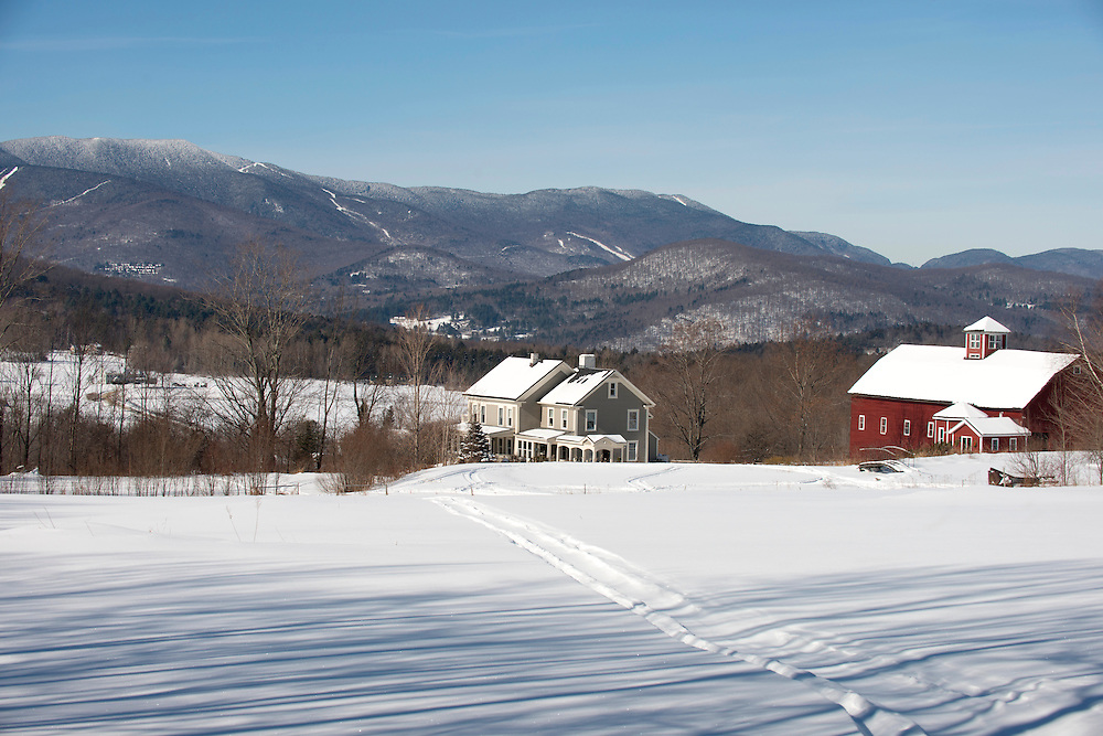 Winter in the Mad River Valley with Sugarbush Ski Area in background, Waitsfield, Vermont.