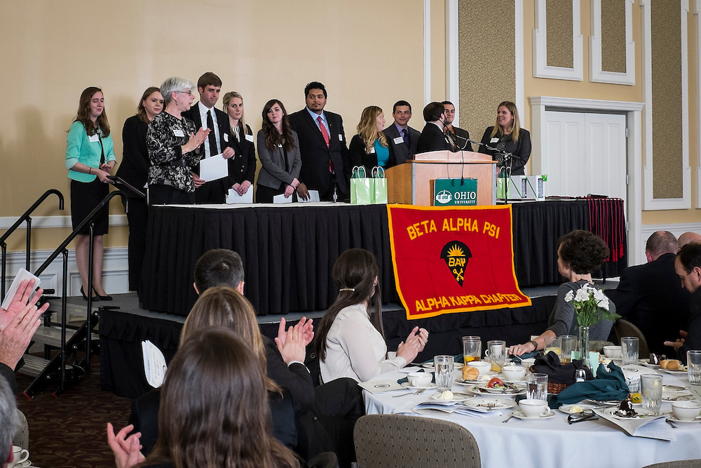 College of Business Beta Alpha Psi accounting awards photographed on April 23, 2015 in Baker Ballroom.  Photo by Ohio University  /  Rob Hardin