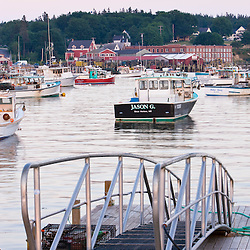 Lobster and fishing boats in the harbor in Bernard, Maine.