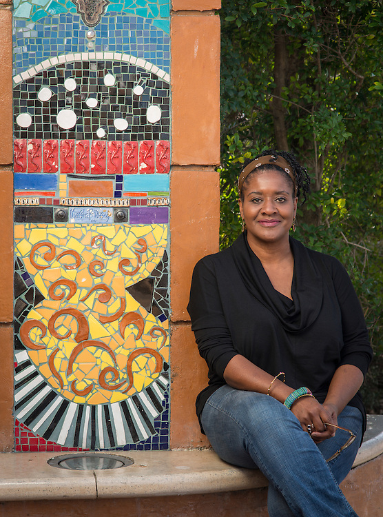 "Lamar High School graduate and artist Marsha Dorsey Outlaw poses for a photograph at her installation ""Vigango's Stoop"", January 29, 2015."
