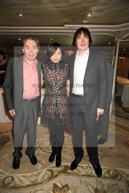 Left to right, ANDREW LLOYD WEBBER,  JIAXIN CHENG and JULIAN LLOYD WEBBER at the 2009 South Bank Show Awards held at The Dorchester, Park Lane, London on 20th January 2009.