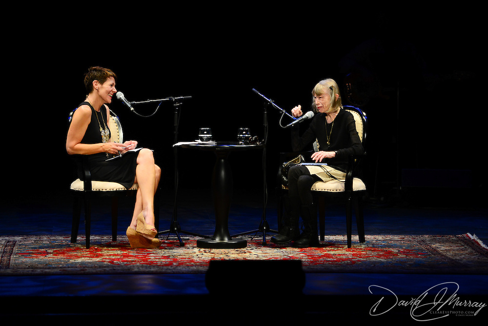 Author Joan Didion is interviewed by NHPR's Virginia Prescott for a Writers on a New England Stage program at The Music Hall in Portsmouth, NH