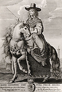 Queen Christina of Sweden (1626-1689). Succeeded to the throne in 1632. Abdicated in 1654 so that she could practice her Roman Catholic faith to which she had converted, Sweden being a Protestant country.  Engraving of Christina on horseback in Rome under her new name, Maria Christina Alexandra.