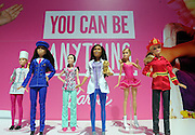 Barbie Careers Assortment dolls are displayed at the New York Fair, Friday, Feb. 12, 2016. Over 150 careers are featured in this line. (Photo by Diane Bondareff/AP Images for Mattel)