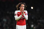 Arsenal Midfielder Matteo Guendouzi (29) thanks the crowd after the Europa League group stage match between Arsenal and Sporting Lisbon at the Emirates Stadium, London, England on 8 November 2018.