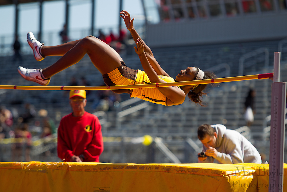Rowan University freshman Shailah Williams competes in women's high jump at the NJAC Track and Field Championships at Richard Wacker Stadium on the campus of  Rowan University  in Glassboro, NJ on Sunday May 5, 2013. (photo / Mat Boyle)