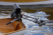 A Seagull 1.5 horse power outboard motor on the transom of a clinker hull dinghy.