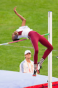 Mutaz Essa Barshim from Qatar competes in men's high jump qualification during the 14th IAAF World Athletics Championships at the Luzhniki stadium in Moscow on August 13, 2013.<br /> <br /> Russian Federation, Moscow, August 13, 2013<br /> <br /> Picture also available in RAW (NEF) or TIFF format on special request.<br /> <br /> For editorial use only. Any commercial or promotional use requires permission.<br /> <br /> Mandatory credit:<br /> Photo by &copy; Adam Nurkiewicz / Mediasport