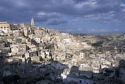 View of the Sasso Caveoso, Matera, Italy. On the left the bell tower of the cathedral. &copy; Carlo Cerchioli<br /> <br /> Veduta del Sasso Caveoso, Matera, Italia. A sinistra il campanile del Duomo.