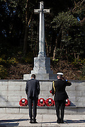 The Canadian Ambassador to Japan, Ian Burney (left) and a military officer from the Canadian armed forces lay a wreath during a ceremony for Remembrance Sunday at the Commonwealth War Graves Cemetery in Hodogaya, Yokohama, Japan. Sunday November 13th 2016. Each year representatives of the Commonwealth nations, along with American and other European nations that lost servicemen fighting the Japanese in World War 2, hold a multi-faith service of remembrance at this cemetery. This is the only cemetery for war dead in japan that is managed by the Commonwealth War Graves Commission.