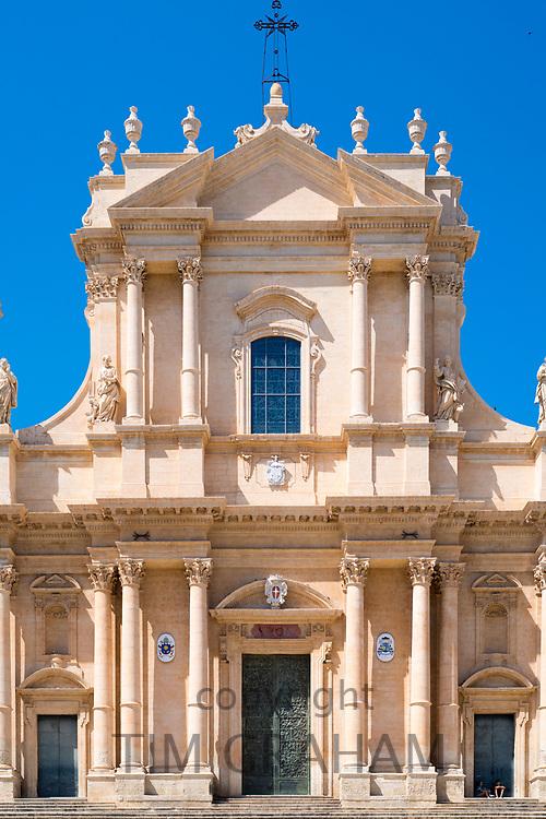 Front elevation of Baroque Cathedral of Saint Nicholas - Basilica di San Nicolo in Noto city, Sicily, Italy