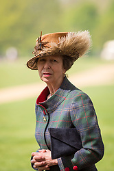 © Licensed to London News Pictures. 22/04/2019. LONDON, UK.  HRH Princess Anne after watching the Members of the King's Troop Royal Horse Artillery take part in a 41 gun salute in Hyde Park to mark the 93rd birthday of Her Majesty The Queen.  Six First Wold War-era 13-pounder Field Guns are used to fire blank artillery rounds..  Photo credit: Stephen Chung/LNP