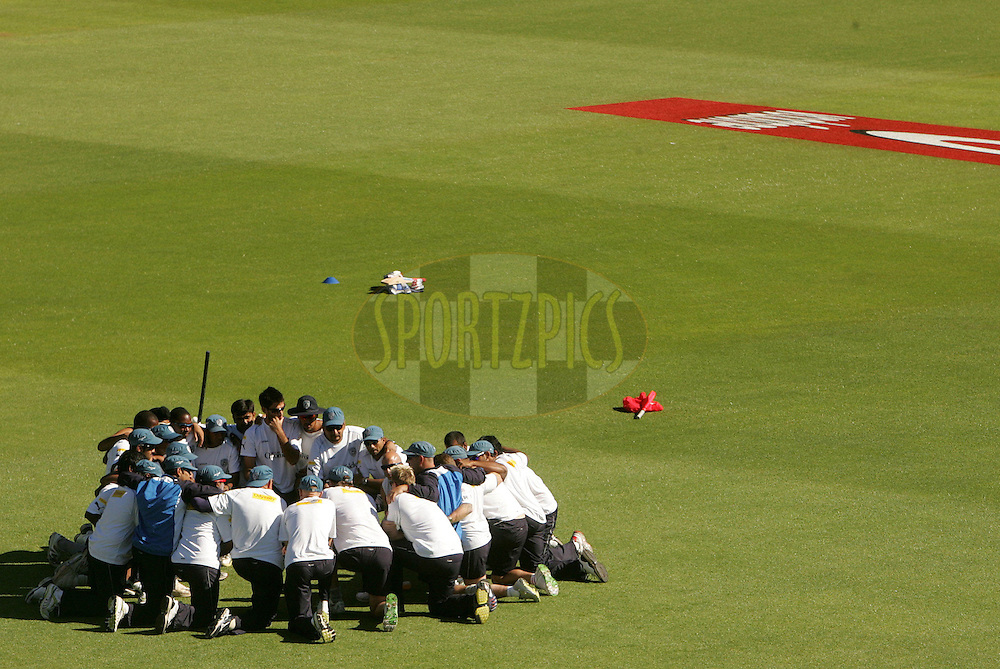 PORT ELIZABETH, SOUTH AFRICA - 02 May 2009. Deccan Chargers team huddle during the  IPL Season 2 match between the Deccan Chargers and the Rajatshan Royals held at St Georges Park in Port Elizabeth , South Africa..