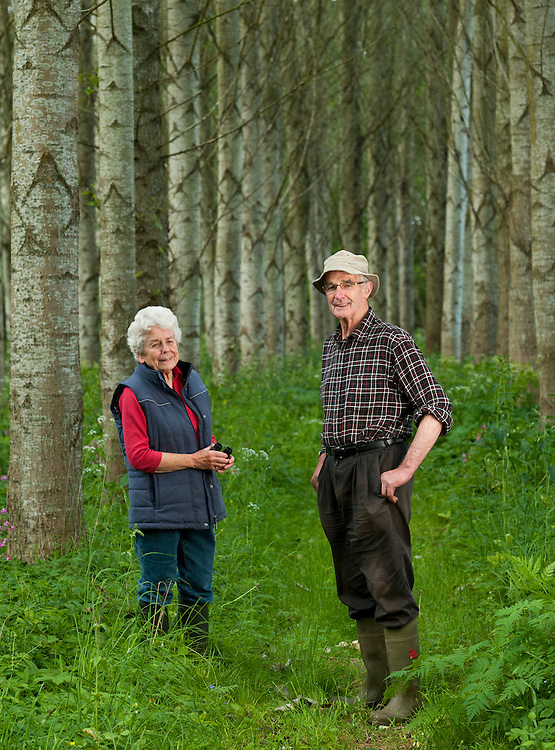 Harold and Rose Jackson in the woodland they have created, Balgarrock, near Aberlemno, Angus