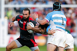 Georgia Winger Tamaz Mchedlidze is challenged by Argentina Fly-Half Nicolas Sanchez and Prop Marcos Ayerza - Mandatory byline: Rogan Thomson/JMP - 07966 386802 - 25/09/2015 - RUGBY UNION - Kingsholm Stadium - Gloucester, England - Argentina v Georgia - Rugby World Cup 2015 Pool C.