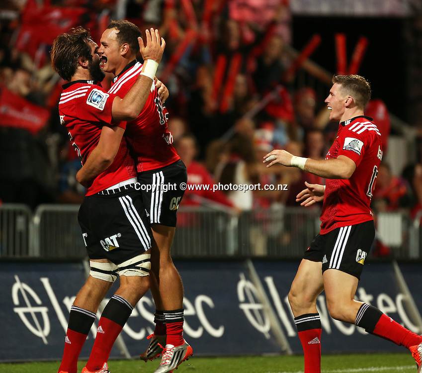 Israel Dagg of the Crusaders celebrates with Sam Whitelock after scoreing a try during the Investec Super Rugby game between the Crusaders v Cheetahs at AMI Stadium in Christchurch. 21 March 2015 Photo: Joseph Johnson/www.photosport.co.nz