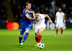 Pablo Sarabia of Sevilla goes past Christian Fuchs of Leicester City - Mandatory by-line: Robbie Stephenson/JMP - 14/03/2017 - FOOTBALL - King Power Stadium - Leicester, England - Leicester City v Sevilla - UEFA Champions League round of 16, second leg