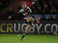 Tim Swiel of Harlequins kicks a Conversion during the European Rugby Champions Cup match at Twickenham Stoop , London<br /> Picture by Paul Terry/Focus Images Ltd +44 7545 642257<br /> 07/12/2014