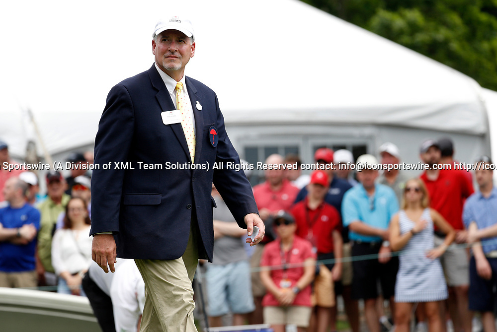 CROMWELL, CT - JUNE 24: Starter John Shulansky announces a golfer during the third round of the Travelers Championship on June 24, 2017, at TPC River Highlands in Cromwell, Connecticut. (Photo by Fred Kfoury III/Icon Sportswire)