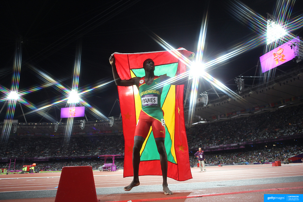 Kirani James, Granada, winning the Gold Medal in the Men's 400m Final at the Olympic Stadium, Olympic Park, during the London 2012 Olympic games. London, UK. 4th August 2012. Photo Tim Clayton