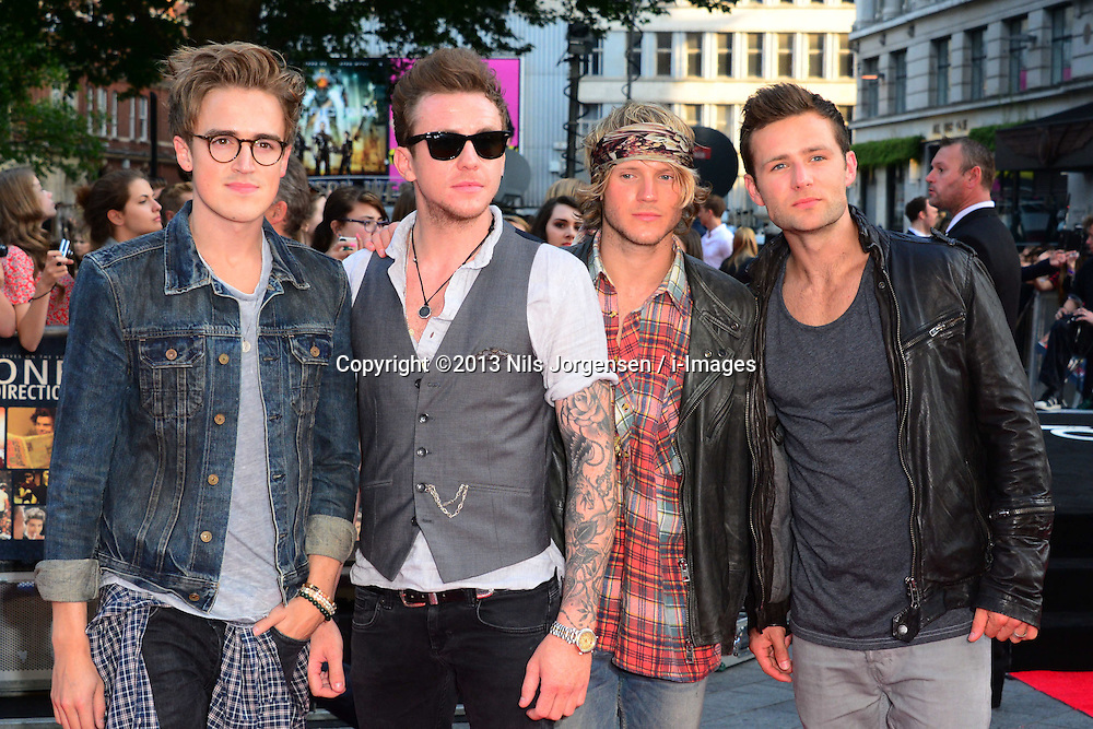 McFly arriving for the world premiere of their film One Direction: This Is Us,<br /> London, United Kingdom.<br /> Tuesday, 20th August 2013.  Picture by Nils Jorgensen / i-Images